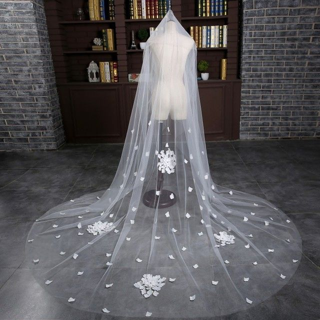 Free Shipping Long New Arrival One Layer Cut Edge White Bridal Veils Handmade Flowers Wedding-Veils