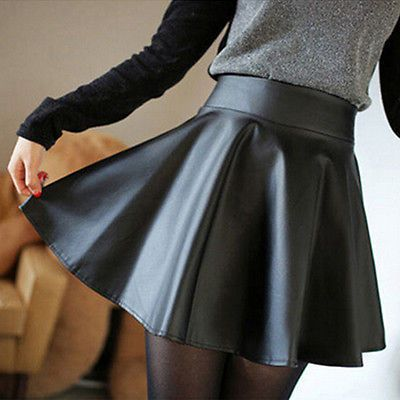 Sexy Women Slim PU Skirt  High Waist Short Mini Skirt Pleated Party Faux Leather Skirts