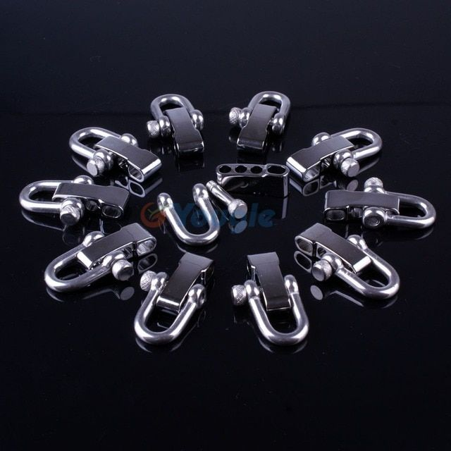 10 Packs/lot Stainless Steel Adjustable PARACORD PARACHUTE CORD LANYARD BRACELET SHACKLES BUCKLES