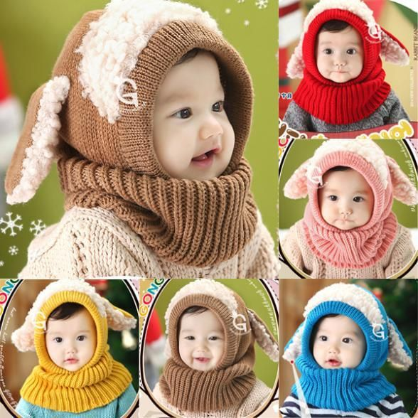 Hot Sales Winter Toddler Kids Girls Boys Warm Woolen Coif Hood Scarf Scarves Caps Hats