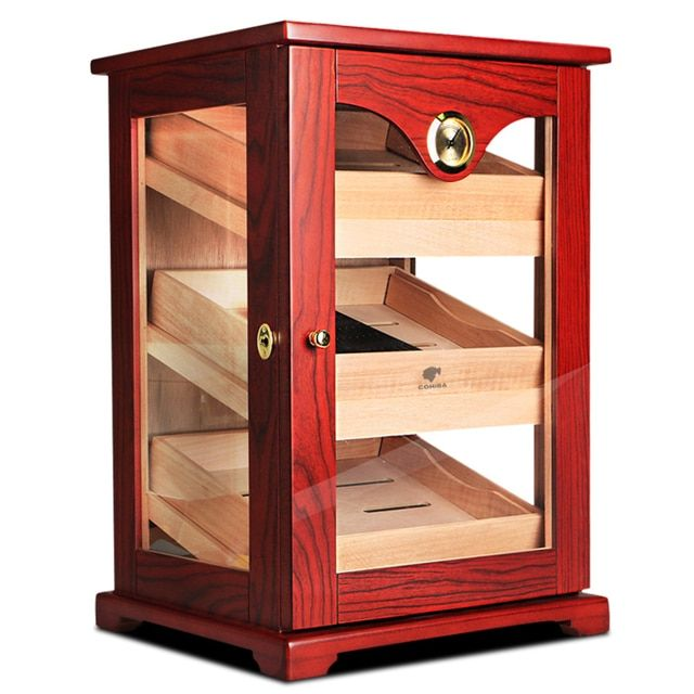 Promotion Price! COHIBA High Glossy Cedar Wood Cigar Cabinet Humidor Storage Box W/ 3 Drawers Hygrometer Humidifier