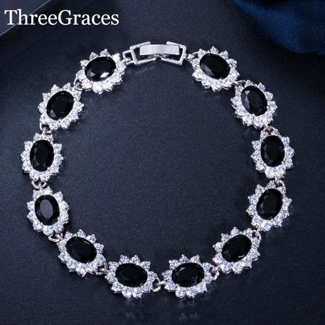 ThreeGraces New Women CZ Jewelry Large Flower Black Cubic Zirconia Stone 925 Sterling Silver Bracelets Bangles For Ladies BR055