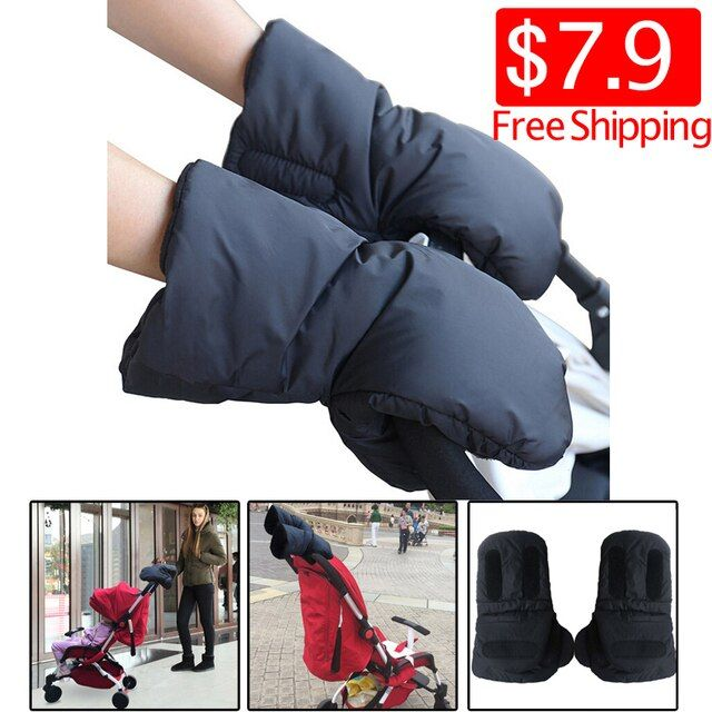 One Pair Waterproof Black Strollers Warm Gloves Thick Wool Winter Must-Go Carts Antifreeze Outdoors Gloves Bicycling Gloves