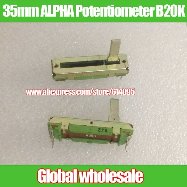 2pcs 35mm ALPHA Straight Slip Potentiometer B20K / variable resistors Stereo fader B20K / Shank Length 15MMC