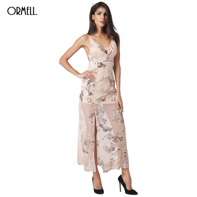 ORMELL Evening Party Elegant Sequin Dress Women Sexy V Neck Glitter Dress 2016 Long Split Beach Summer Mesh Vestidos