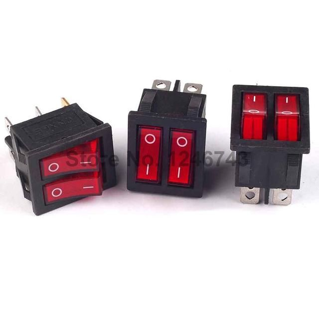 5PCS 250V 15A / 125V 20A Red Light 6P Terminals On/Off Double Spst 2 Way Snap In Boat Rocker Switch