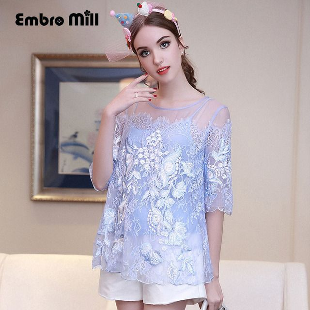 High-end lady floral silk blouse shirt summer American European vintage royal embroidery loose flowers shirt brand womens S-XL
