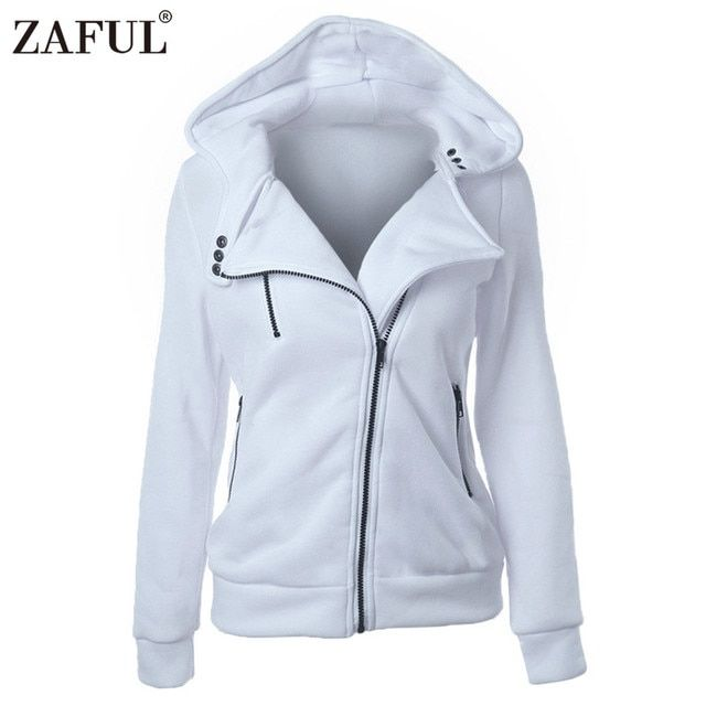ZAFUL 4 color New Autumn&Winter Women hoodies sweatshirts zipper V Neck Long Sleeve Warm Female Hoodies jacket Sudaderas Mujer