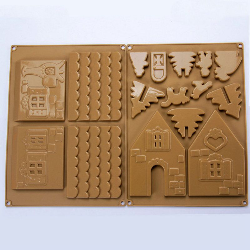 AMW Christmas Silicone Mold 3D Gingerbread House Chocolate Mold Cake Decorating Tools Baking Accessories