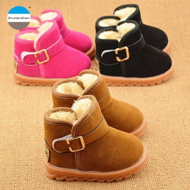 2017 Winter 1 to 5 years old children snow boots baby boys and girls cotton boots keep warm kids short boots casual sport shoes