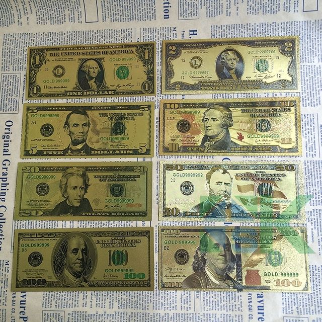 8pcs/lot 8 different design US Dollar Gold Foil plated  Banknote America paper money for collection / banknote
