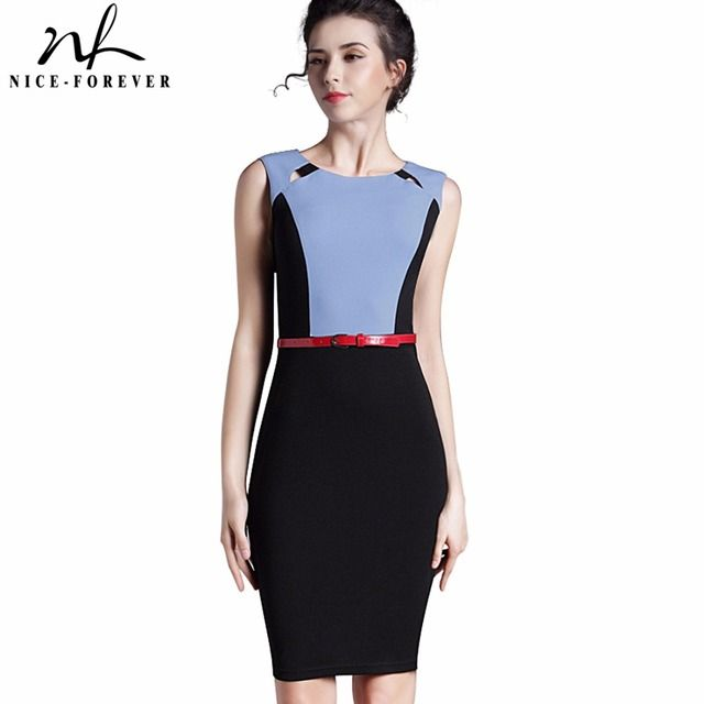Nice-forever New Summer Lady Patchwork O-Neck Hollow With Belt Knee length sleeveless Business Office Casual Pencil Dress B305