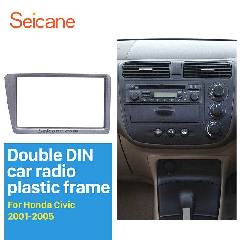 Seicane Silver Grey Double 2 Din Car Radio Fascia for 2001-2005 Honda Civic RHD Stereo Interface CD Trim In Dash Mount Kit