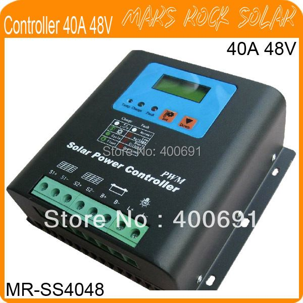 40A 48V PWM Solar Power Controller Regulator,LED display,Metal Shell, Temperature Compensate, Workable for Home System and Light