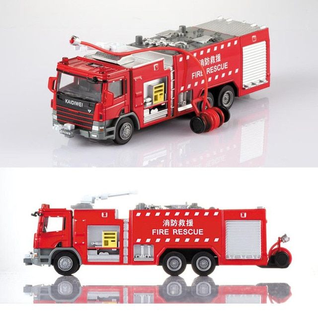 1 Pcs Alloy Engineering Fire Engine Vehicle Model 1:50 Water Fire Truck Ladder Support Original Die Cast Model Toy For Boys Gift