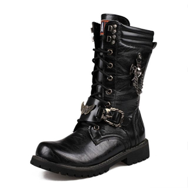 New 2016 Fashion Vintage Punk Men Platform Shoes Mans Long Elevator Male Motorcycle Boots Big Size 44 Man Black Military Boots