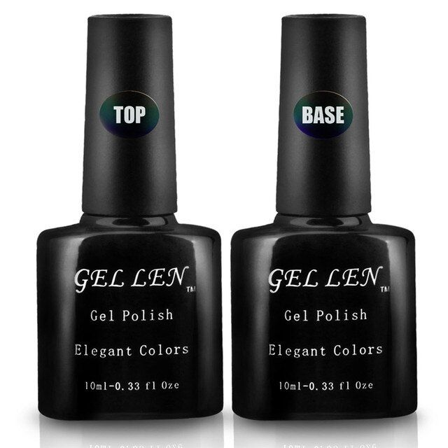 Gel Len 2pcs Base and Top Coat UV LED DIY Nail Art Gel Polish  Professional Brand