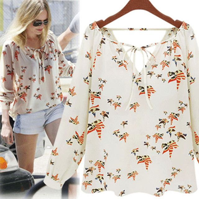 Women Blouses Summer Tops Casual Long Sleeve Tether Chiffon Blouse Floral Women Shirts Chemise Femme Blusa Feminino