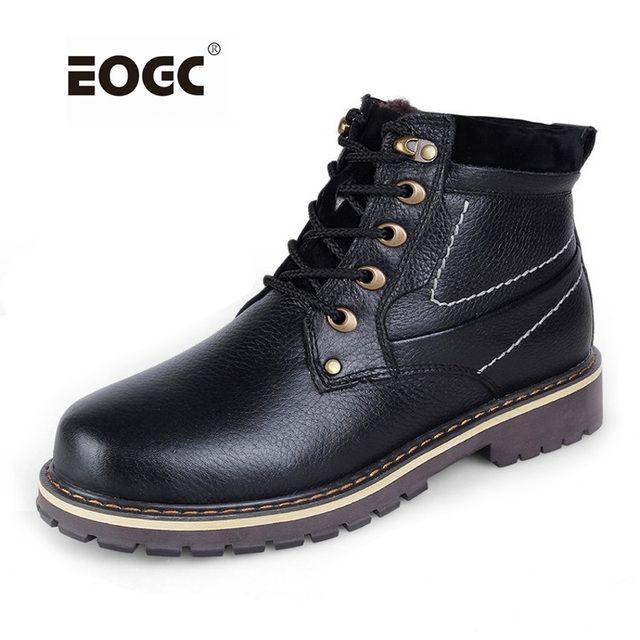 Full genuine leather men boots plus size top quality cow leather winter shoes village style men snow boots waterproof men shoes