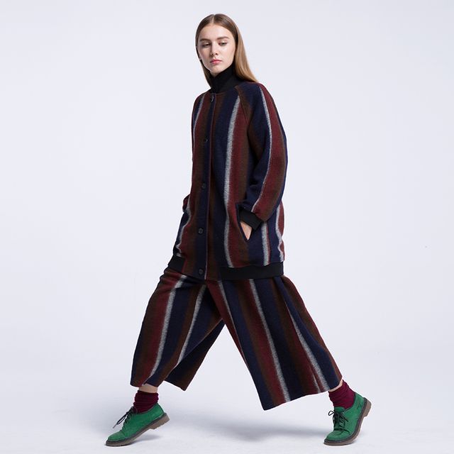 CH225 New Autumn and Winter 2016 casual loose long baseball collar jacket coat and wide leg pants striped wool 2 piece set women