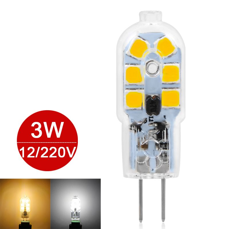 New G4 LED Lamp AC220V DC/AC12V 3W Mini LED Bulb SMD2835 360 Beam Transparent Chandelier Light Replace Halogen Lamp