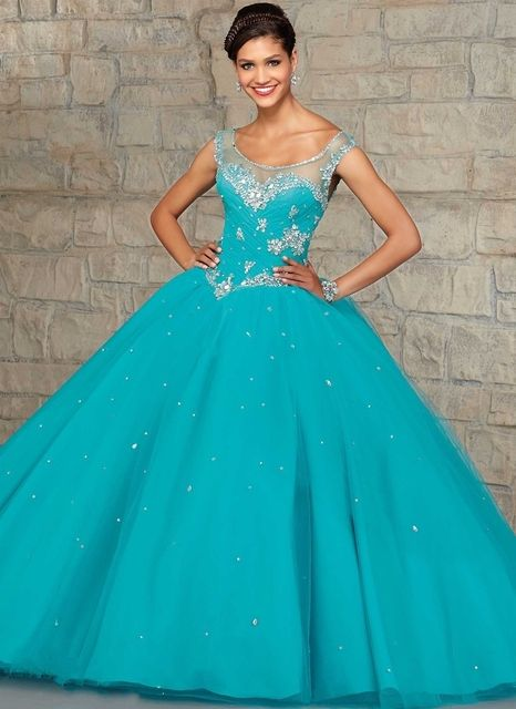Turquoise Blue Ball Gown Quinceanera Dress Coral Elegant Beaded Crystal For Girl 15 Years Party Gowns 2016 Sweet 16 Dresses
