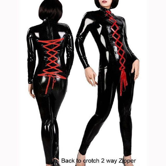 HU&GH 2017 Sexy Latex Catsuit Faux Leather Jumpsuit Women Red Ribbon Lace Up Bodycon Stretchy Jumpsuit Clubwear Vinyl Costumes