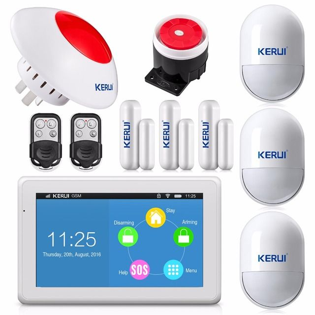 New KERUI touch-screen amazing design 7 Inch TFT Color Display WIFI+ GSM flat table Alarm System kit KR-K7