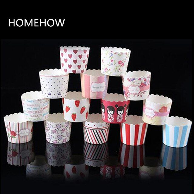 50PCS/Lot Colorful Thicken Muffin Cupcake Paper Cup Kitchen Stencil Household Bakeries Cake Cupcake Muffin Cases Paper Cup Liner