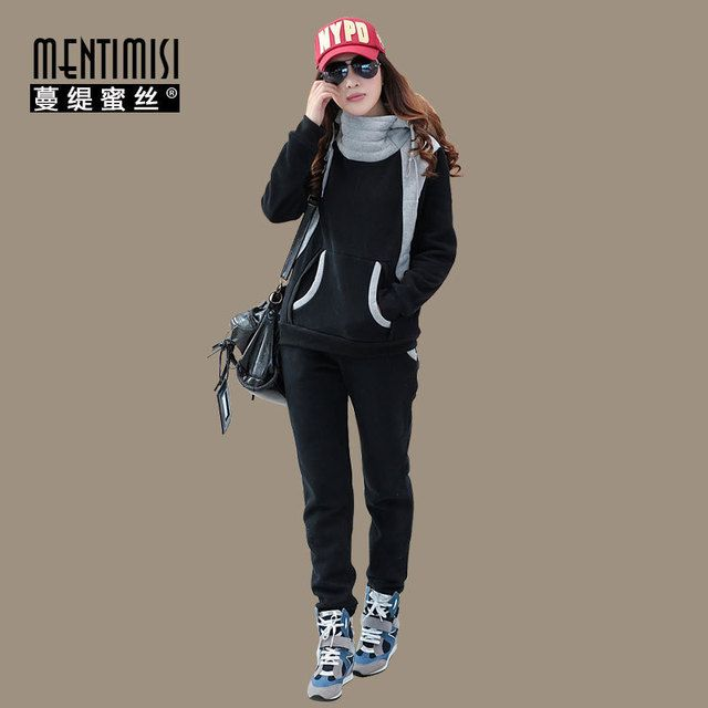 free shipping 2015 fashion Thick Winter Fashion Leisure Suits Pullover Hooded Ladies Suit Women's Clothing women casual suits