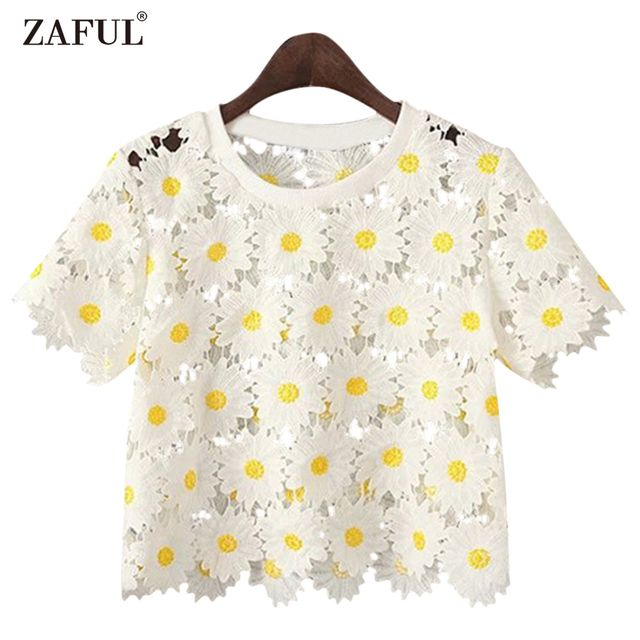 ZAFUL Women Round Collar Short Sleeves Flower Hollow Out Blouses Cute Ladies Girls Short shirts Pullovers Casual Feminino Blusas