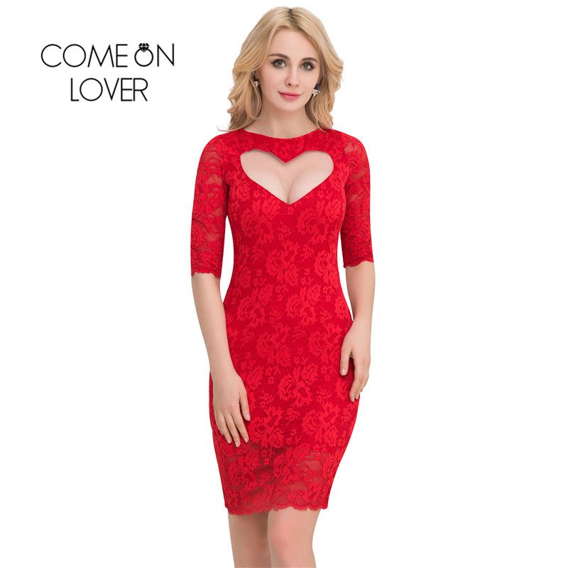 VI1049 Comeonlover Valentine Day Sex Dresses Half Sleeve Party Plus Size Lace Dresses Elegant Sweater Bodycon Vestidos De Verano