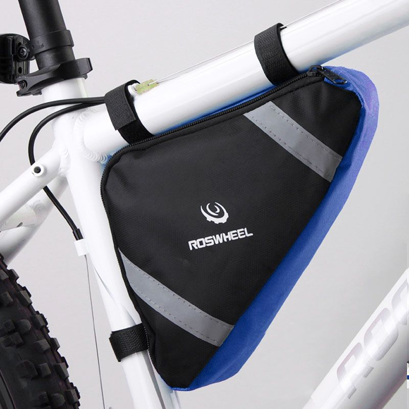 ROSWHEEL Bicycle Frame Triangle Bag Storage Pouch Bags Cycling MTB Road Bike Tube Corner Pannier Blue/Orange Bycicle Bolsa