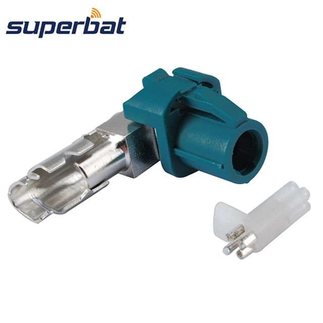 Superbat RF Connector New Car HSD Fakra Z Waterblue Crimp female jack 90 deg Right Angle Connector for Dacar 535 4pole