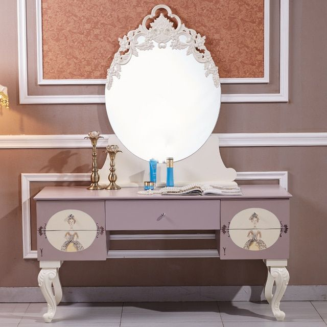 Girl child dresser dressing table European wood with mirror makeup stool