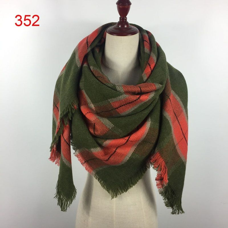 140x140cm winter acrylic cashmere tartan plaid scarf brand blanket shawl designer pashmina wrap stole for Lady Women Girl