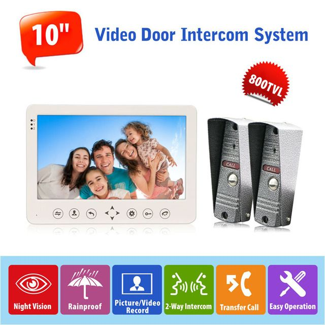 "2v1 10.1"" Color Video Door Intercom System Video Doorbell with Rainproof Night Vision Camera System Control Door Unlock"