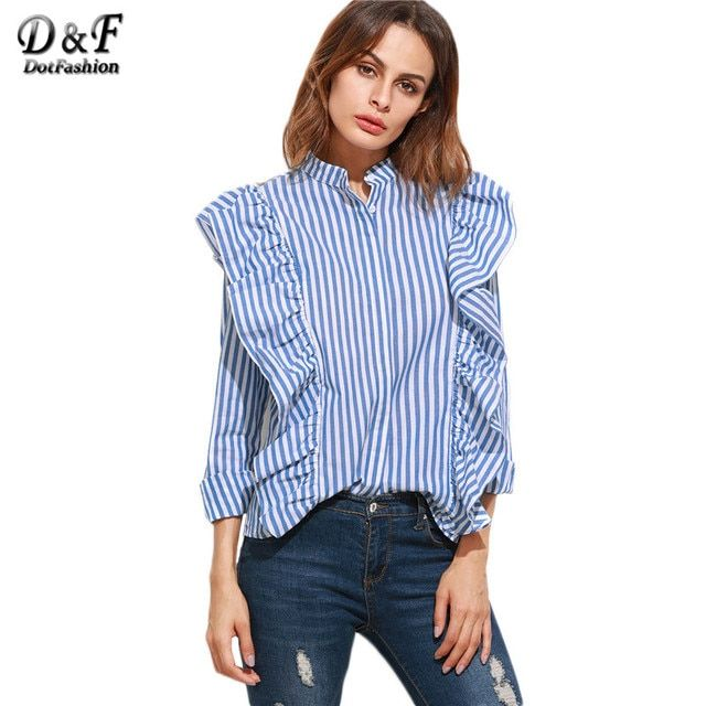 Dotfashion Women Formal Shirts Designs Women Elegant Blouses Shirts Women Blue Vertical Striped Hidden Button Ruffle Blouse