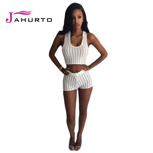 Jahurto 2016 Summer Crop Top And Shorts Set Fashion Striped Sleeveless Hooded Women Suit Bodycon 2 Piece Set