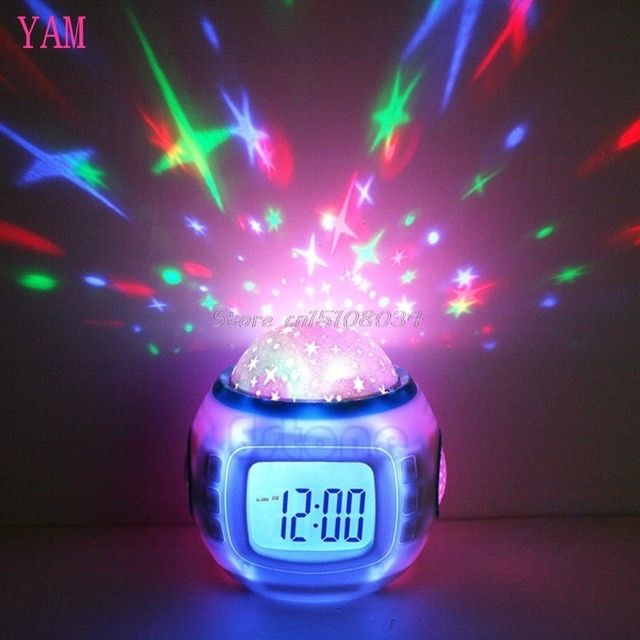 Sky Star Children Baby Room Night Light Projector Lamp Bedroom Music Alarm Clock S08 Drop ship