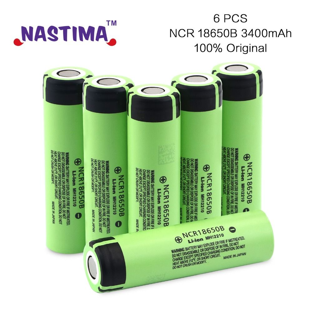 NASTIMA 6PCS NCR18650B 3400mAh 3.7V lithium ion rechargeable battery for Panasonic LED Flashlights E-Cigarrettes NCR18650B