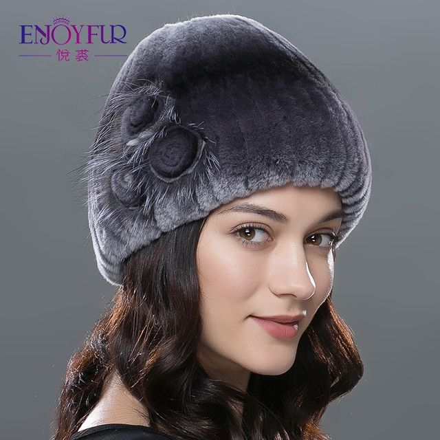 ENJOYFUR winter women fur hat natural knitted rex rabbit silver fox fur caps fashion fur caps with floral brand female hat sale