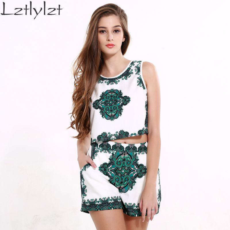 lztlylzt 2 Piece Set Women Green Vintage Print Fashion Crop Top And Shorts Set 2016 Summer Women Two Piece Set Africa Clothing