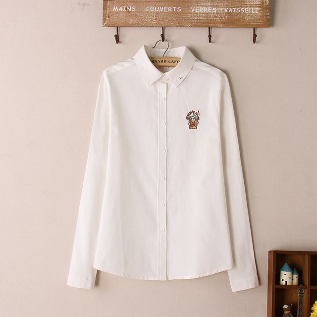 2015 Autumn And Winter Fashion Women Casual Long Sleeve Shirt Indian Cartoon Embroidered White Shirt Oxford Shirt