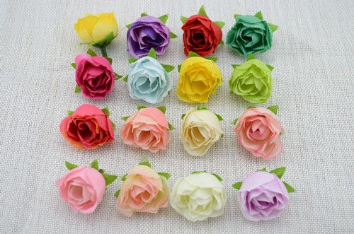 Fresh and artificial flowers small tea bud Simulation small tea rose silk flower decoration flower head DIY accessories