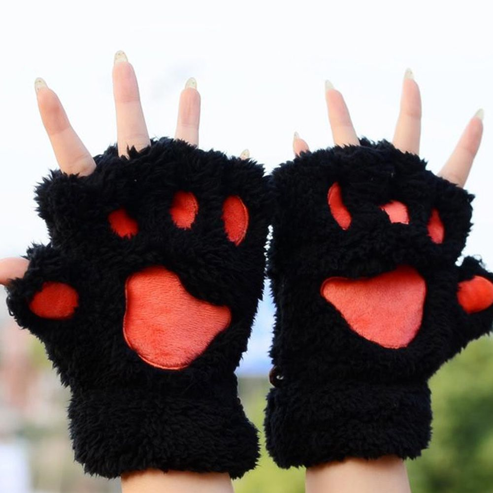 2018 Cute Plush Bear Claw Mitten Gloves Winter Half-finger Gloves Keep Warm Gloves Women Accessories