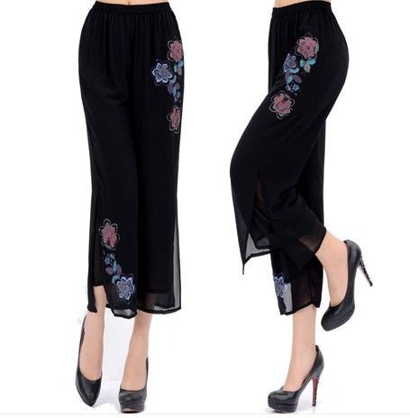 Middle-aged and old women's summer wear fashionable middle-aged mother plus size printed georgette pants elastic waist trousers