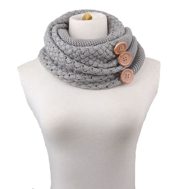 Feitong Fashion Winter Keep Warm Scarf Two Circle 3 Buttons Knitting Wool Collar Cowl Neck Ring Scarf Shawl For Women New