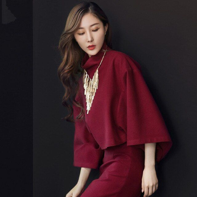 Classic good quality spring autumn winter female woman wind red original design shirt and skirt suit