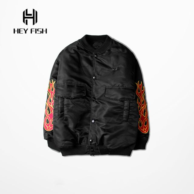 HEY FISH New Winter Hip Hop Mens Classic Bomber Jackets Flame Embroidery Thick Parka Coat Brand Clothing M-XL